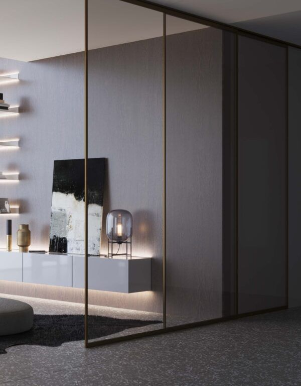 Image shows a sliding glass wall
