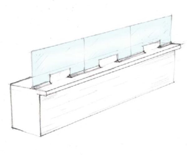 counter glass partition with pass through