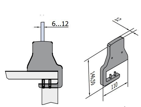SH15 mounting hardware for covid glass shield SH15