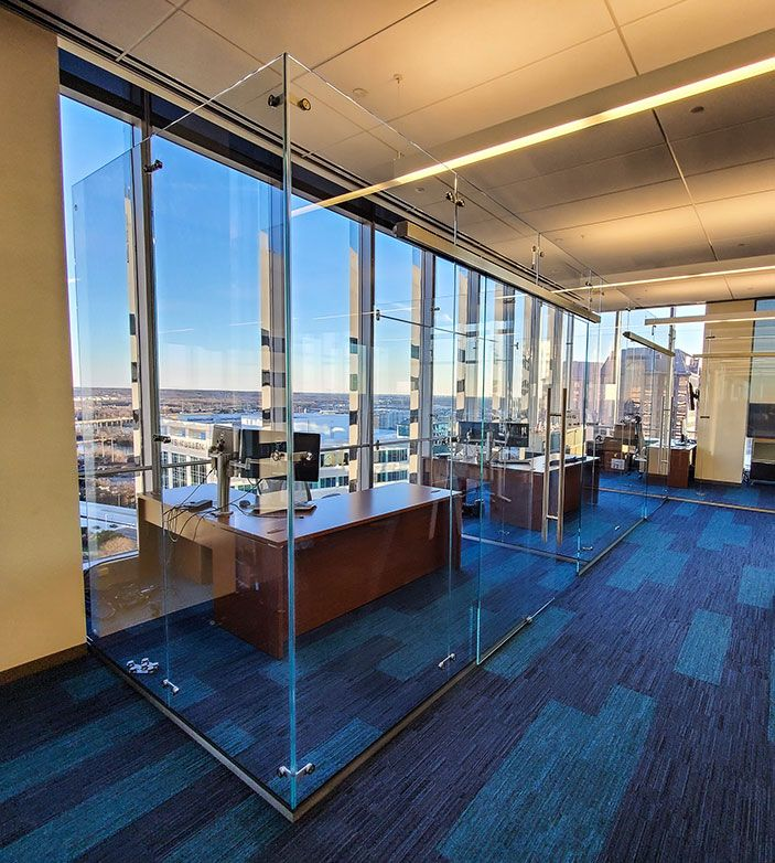 Free standing glass office partition in Richmond Virginia