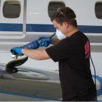 Nushine metal polish on airplane wing