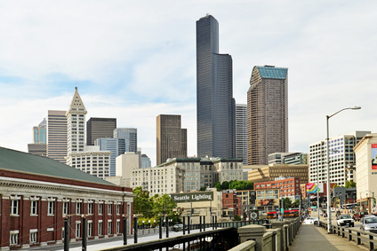View of downtown Seattle and train station