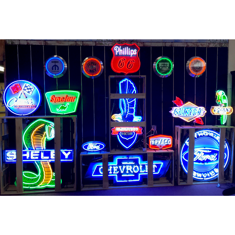 garage wall neon display