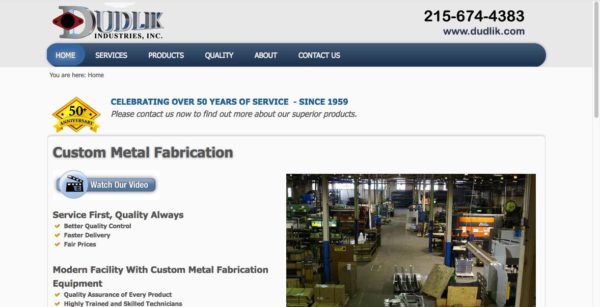 Landing Page for Dudlik Manufacturing Freelance Copywriter Al Lefcourt