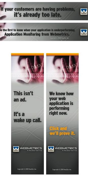 Banner Ads for Webmetrics Freelance Copywriter Al Lefcourt