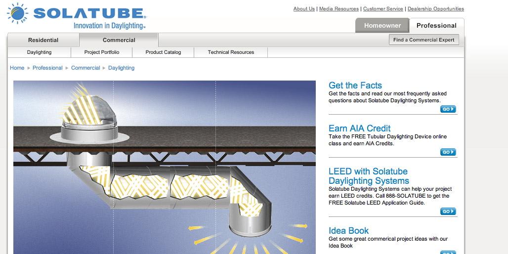 Landing Page for Solatube Freelance Copywriter Al Lefcourt