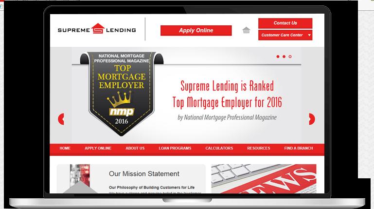 supreme lending homepage screenshot