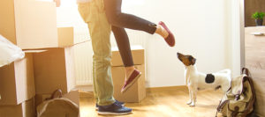 couple moving in with their dog