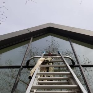 cleaning windows way up high