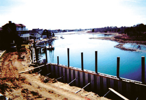 Riverview Condos in S. Yarmouth, MA - commercial project using helical tieback anchors for a bulkhead