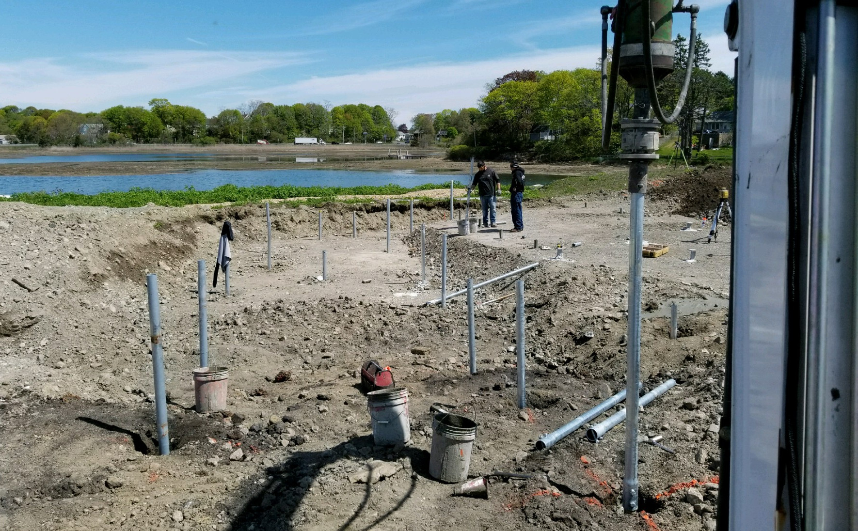 New construction helical piles by wetlands