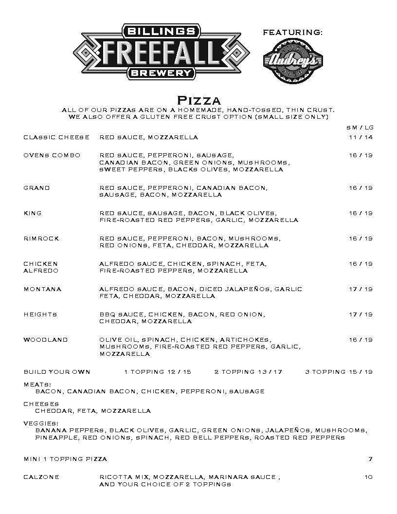 audrey's pizza menu montana page 1
