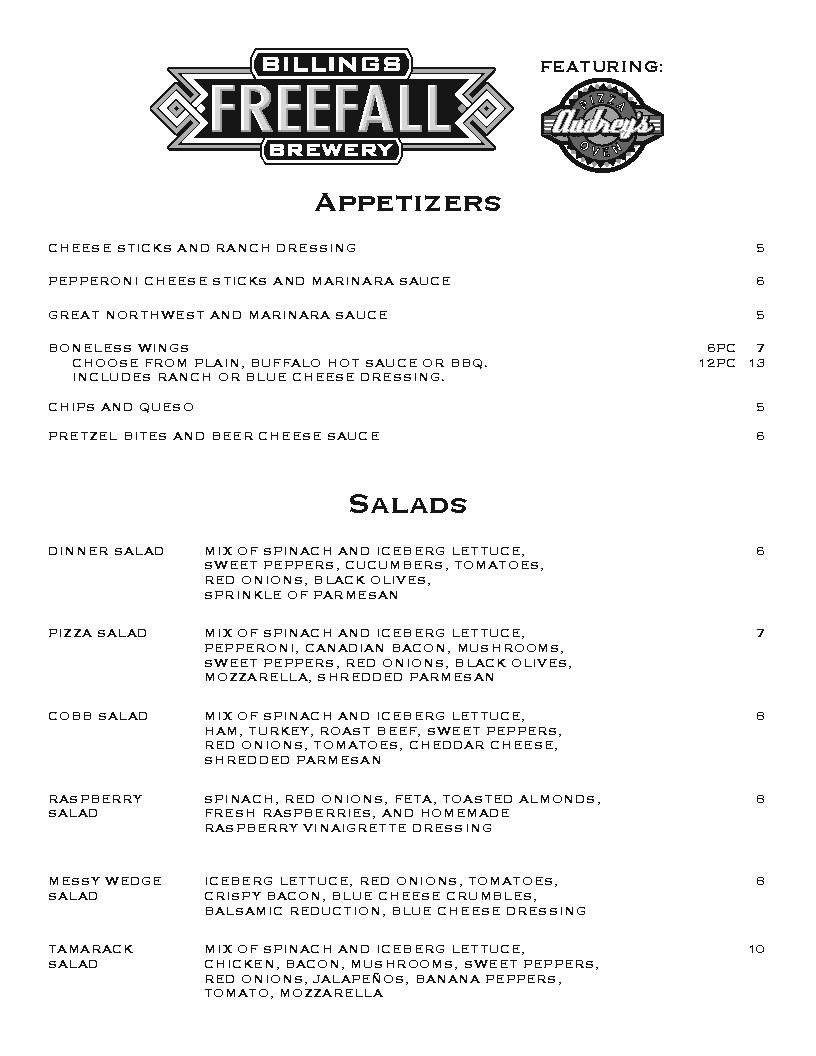audreys pizza menu