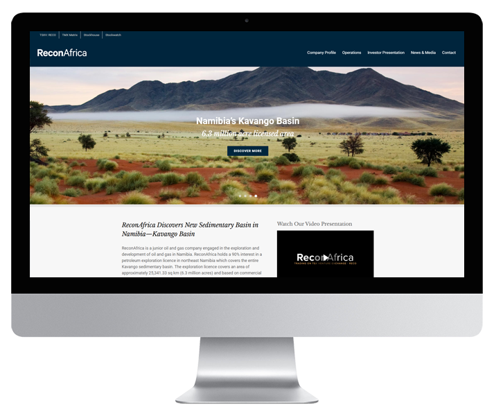 ReconAfrica Website by HCD