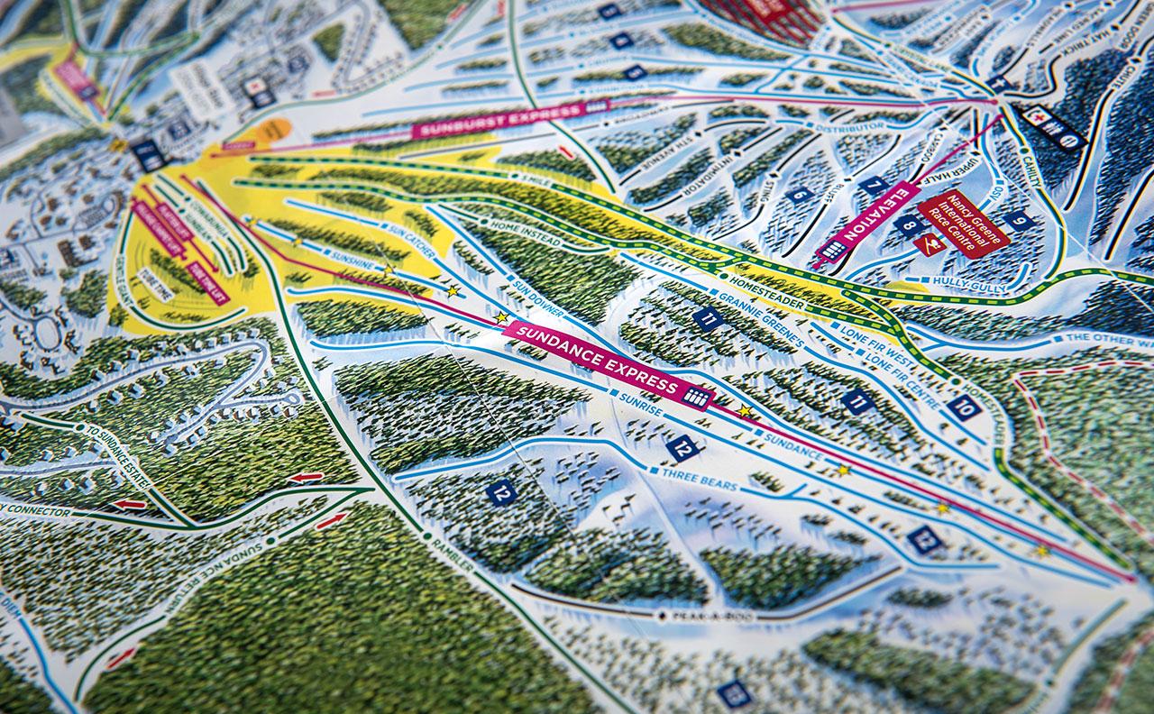 Sun Peaks Resort Trail Map Detail 2 by HCD