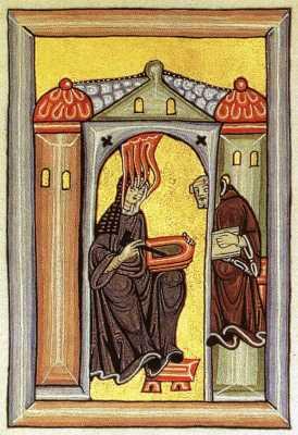 St. Hildegard, Midevial, Source - Miniatur aus dem Rupertsberger Codex des Liber Scivias.