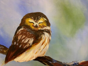 Baby Owl, Painting in Plains MT! @ VFW post 3596