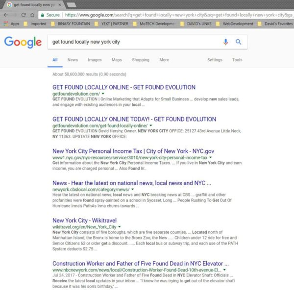 Google Rankings   GET FOUND EVOLUTION   NYC 1