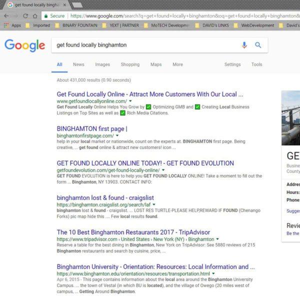Google Rankings   GET FOUND EVOLUTION   Binghamton 1