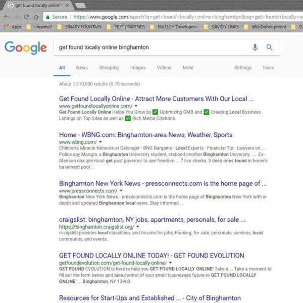 Google Rankings   GET FOUND EVOLUTION   Binghamton 2