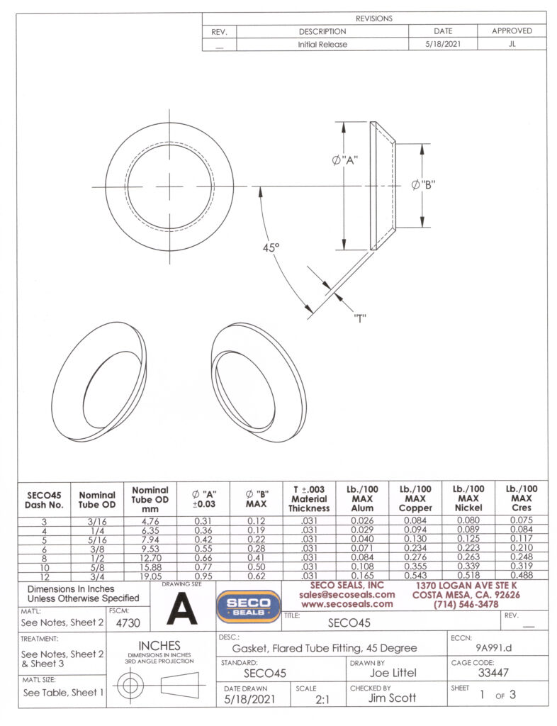 SECO45 Flared Tube 45 Degree Gasket - Page 1 of Engineering Drawing