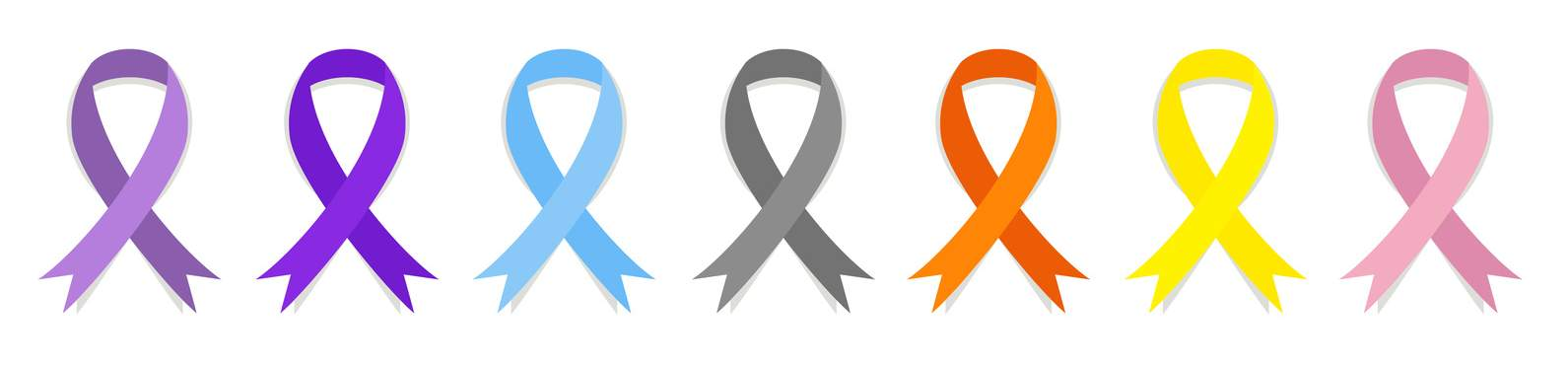 Cancer awareness ribbons, vector set collection