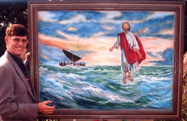 Tom Ammons with chalk drawing - Jesus walking on water