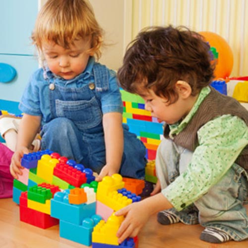 Box of age appropriate toys for rent