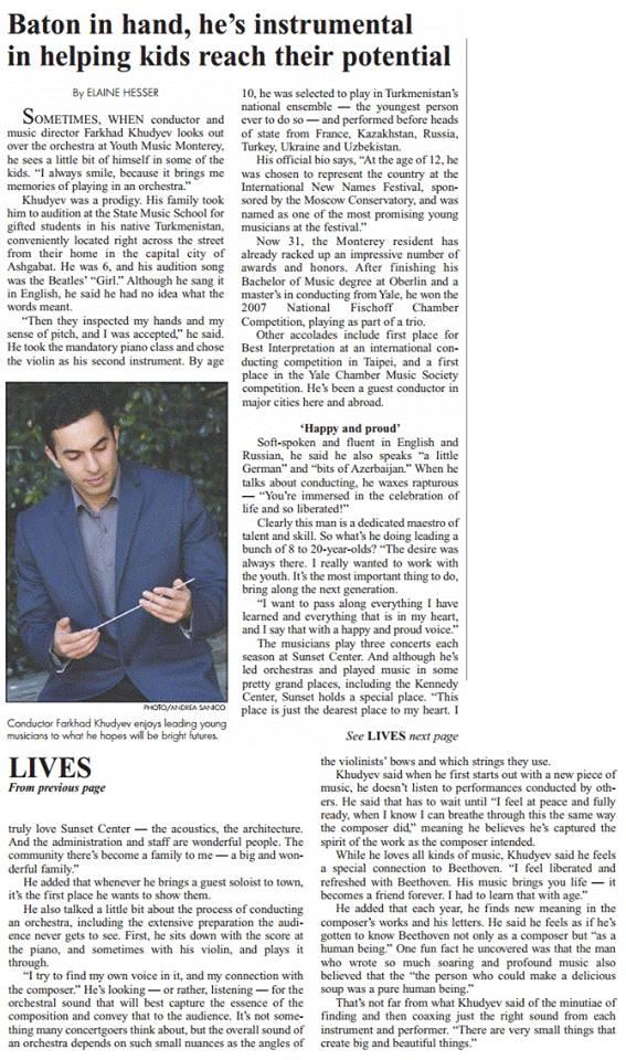 Carmel Pine Cone's Great Lives column features YMM's Music Director Farkhad Khudyev