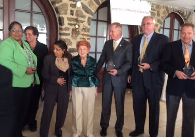 Honorees l to r- Lorraine Guest, Nancy Falcon, Kushalata Jayaker, MD, Richared Alles, Frank McCann, Hon. John Duane
