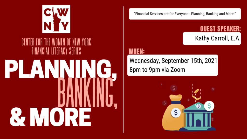 Financial Literacy Series: Financial Services are for Everyone – Planning, Banking and More! @ Zoom