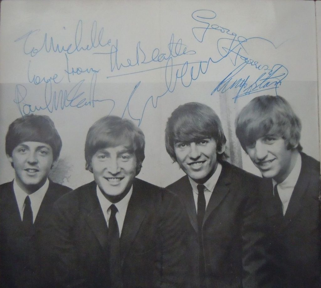 """The Beatles """"Four Aces"""" program large set of autographs boldly signed on the opening photo page of the group by John Lennon, George Harrison, Ringo Starr and Paul McCartney who has added a dedication """"To Michelle Love from The Beatles""""."""