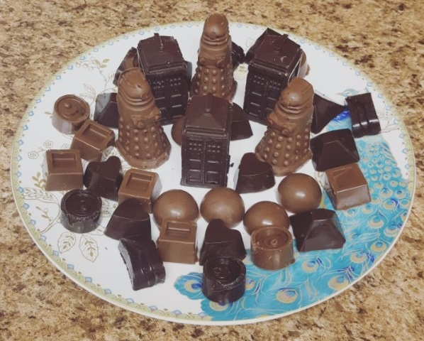 These work great to make tardis and dalek shaped chocolates. Chocolates are easily removed and won't break.