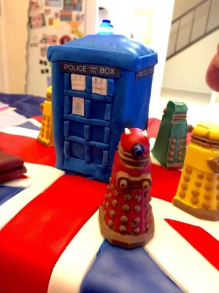 Tardis surrounded by Daleks