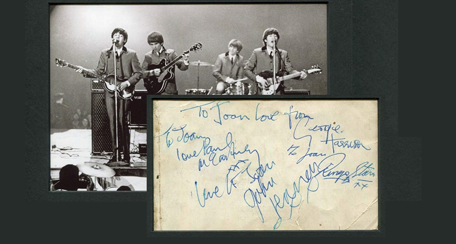 The Beatles AUTHENTIC autographs, postcard signed verso mounted