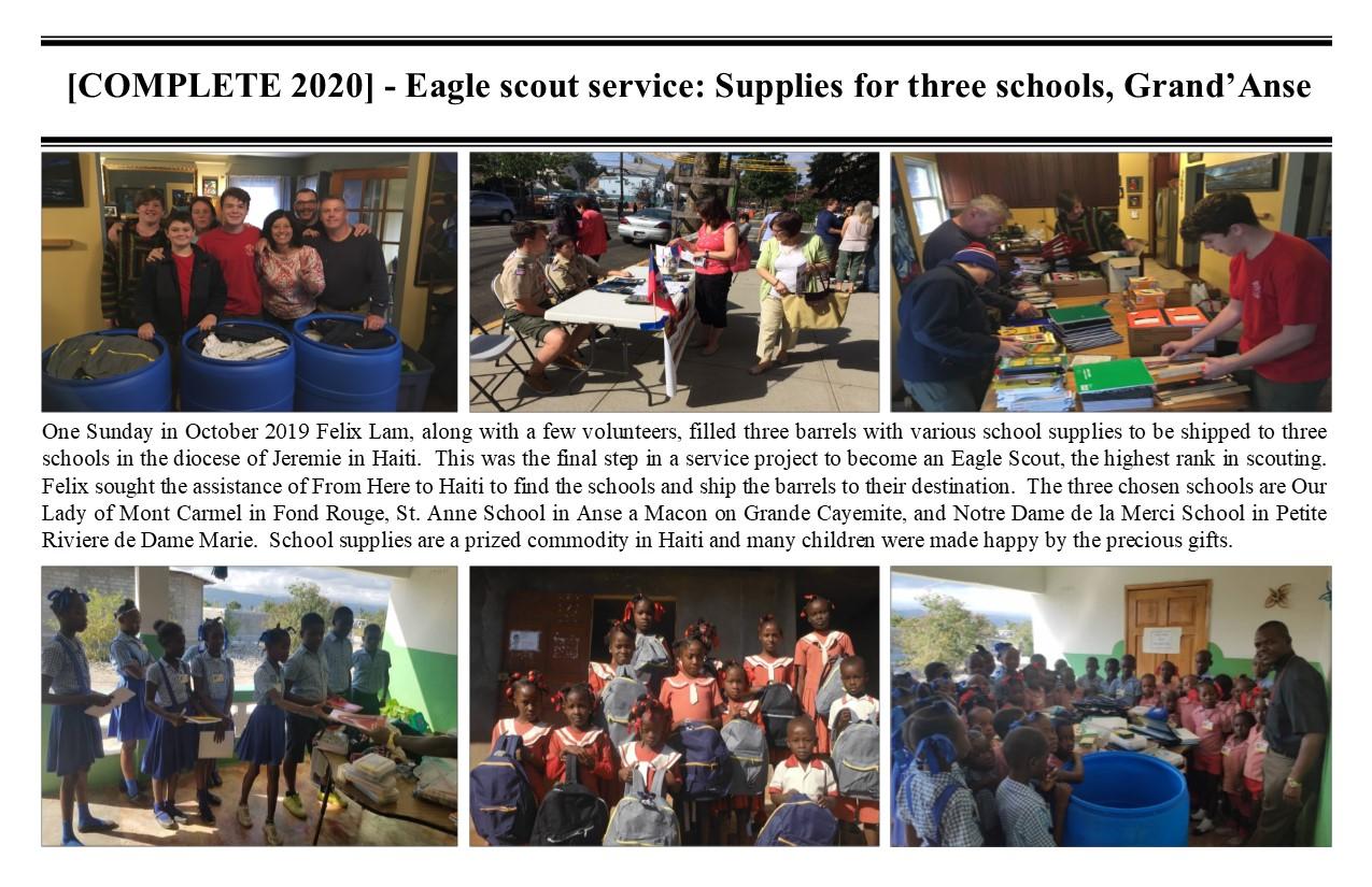 Belimage - ProjectComplete - Jeremie Diocese, Eagle Scout School supplies
