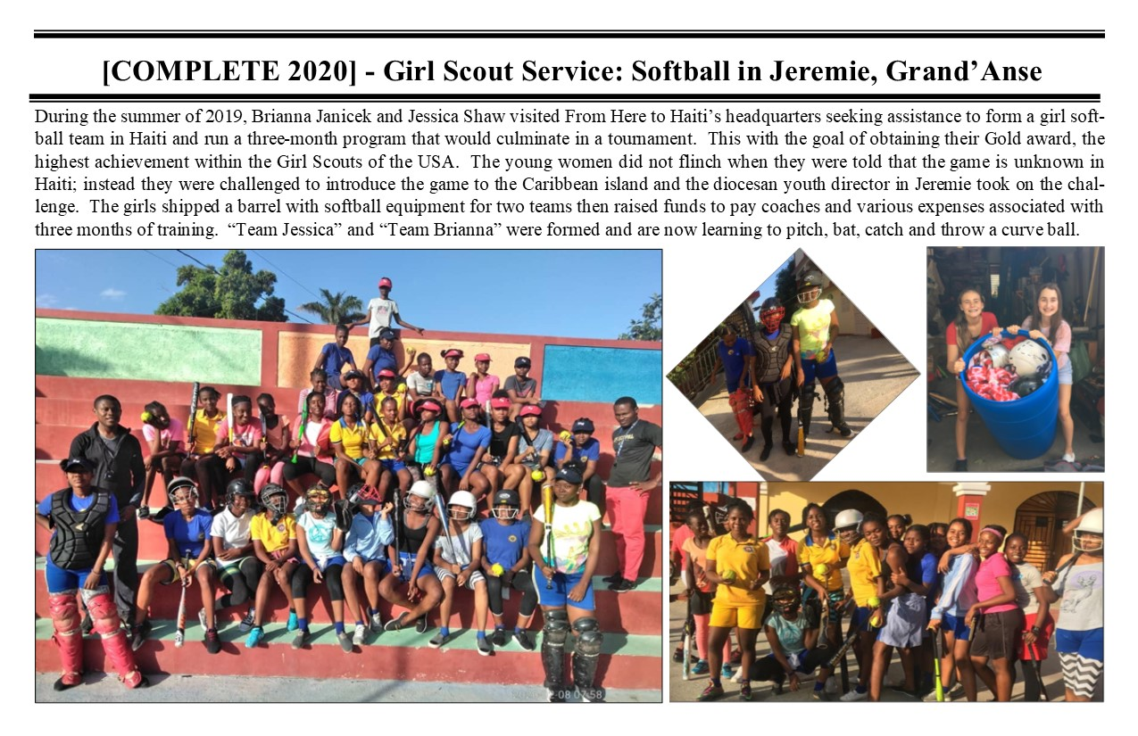 Belimage - ProjectComplete - Jeremie Diocese, Girlscout service, Softball