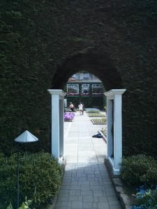 Romanesque style doorway in Butchart Gardens near Victoria, BC