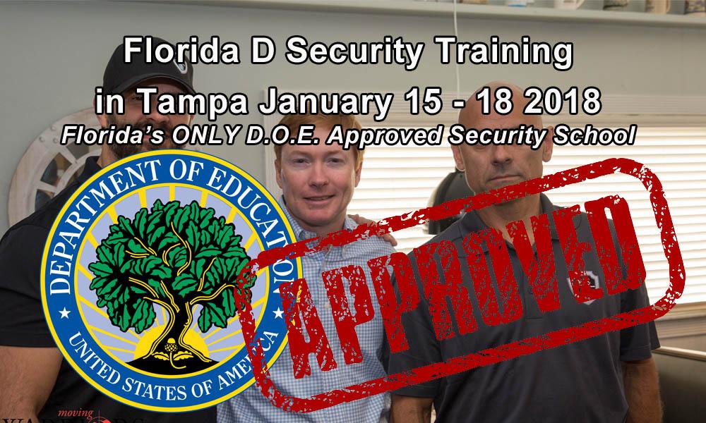Florida D Security Class January 15-18 in Tampa