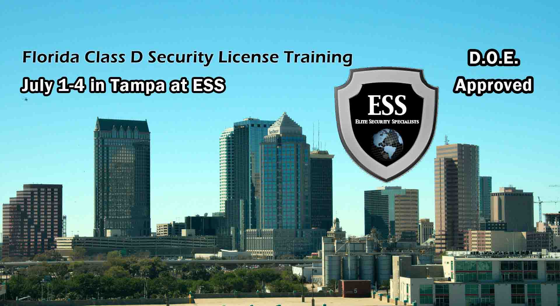 Florida D Security License Training in Tampa July 2021
