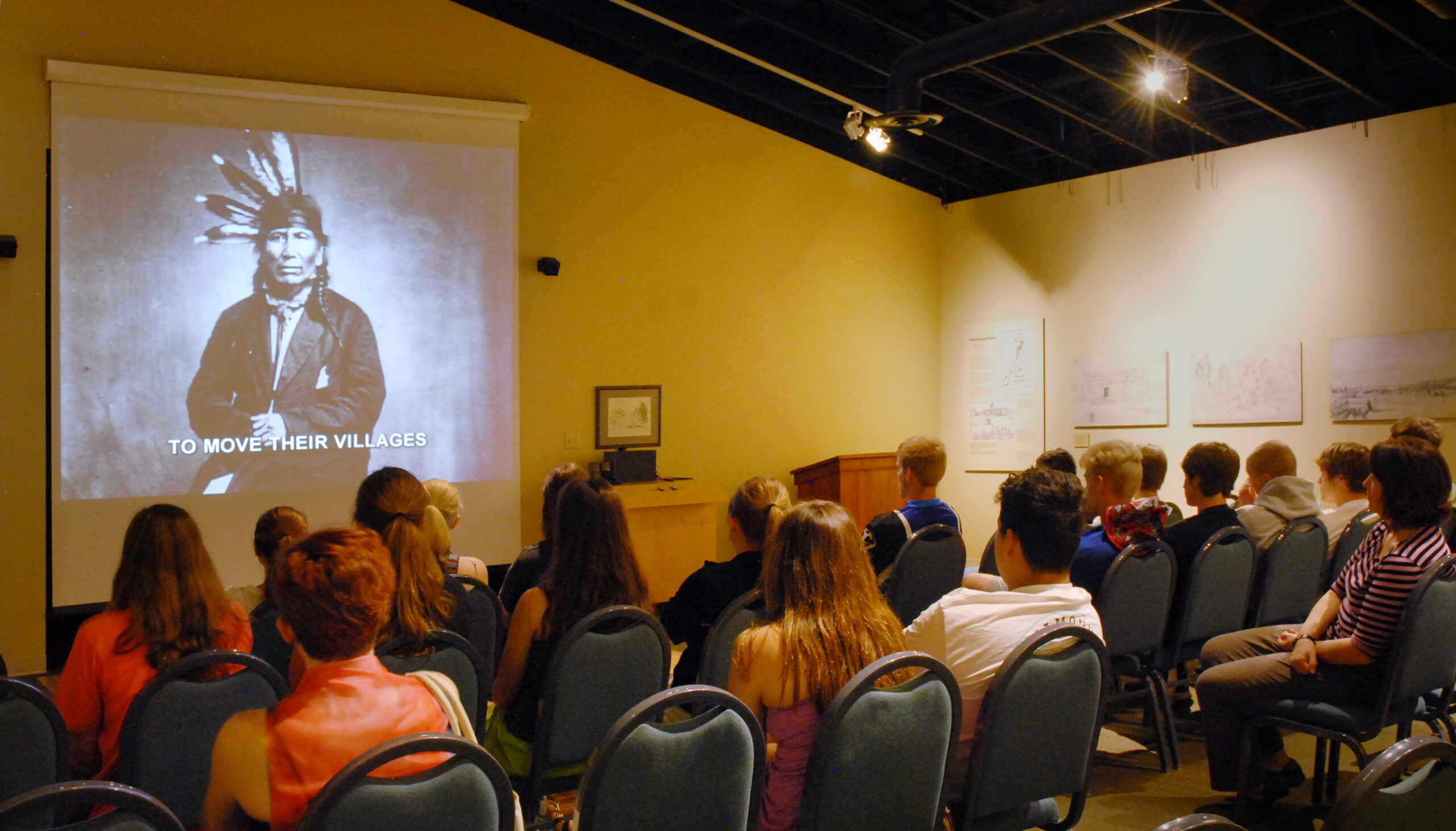 Students watching introductory film