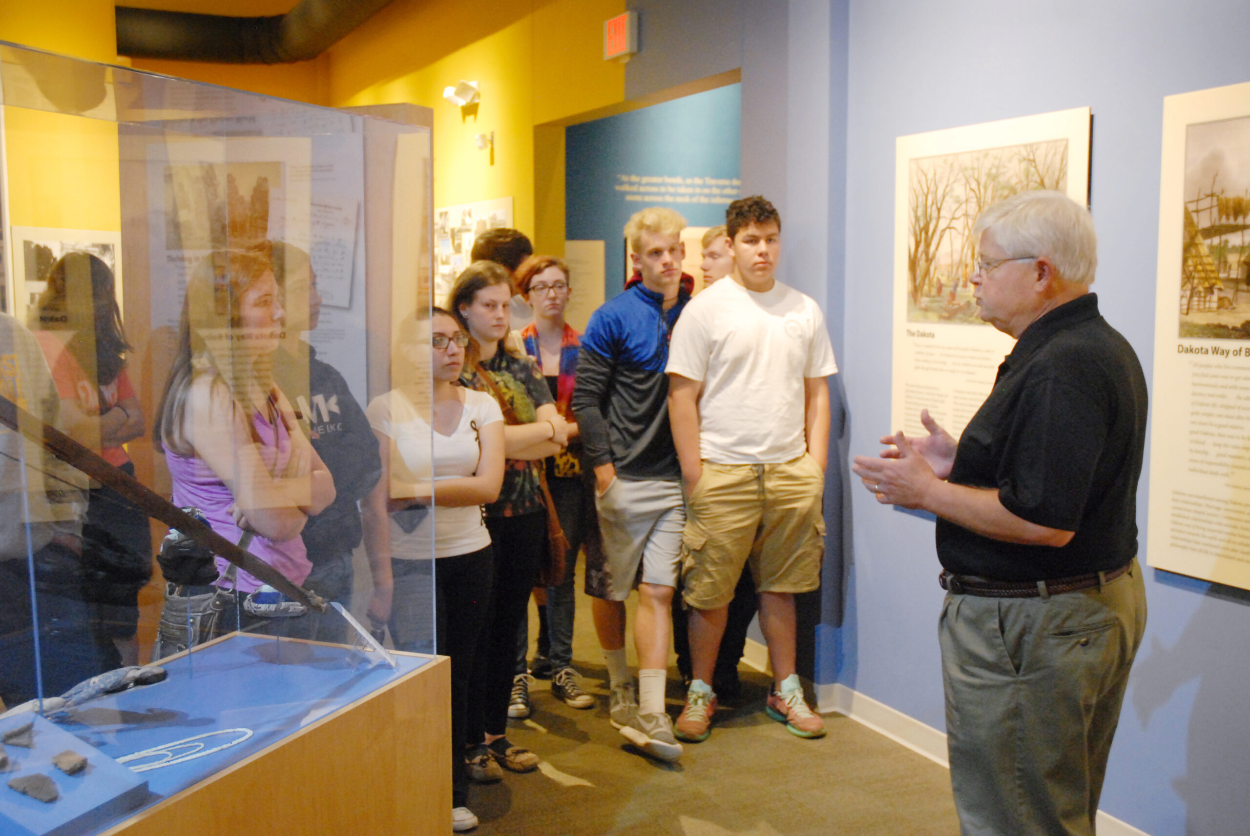 Docent leading students