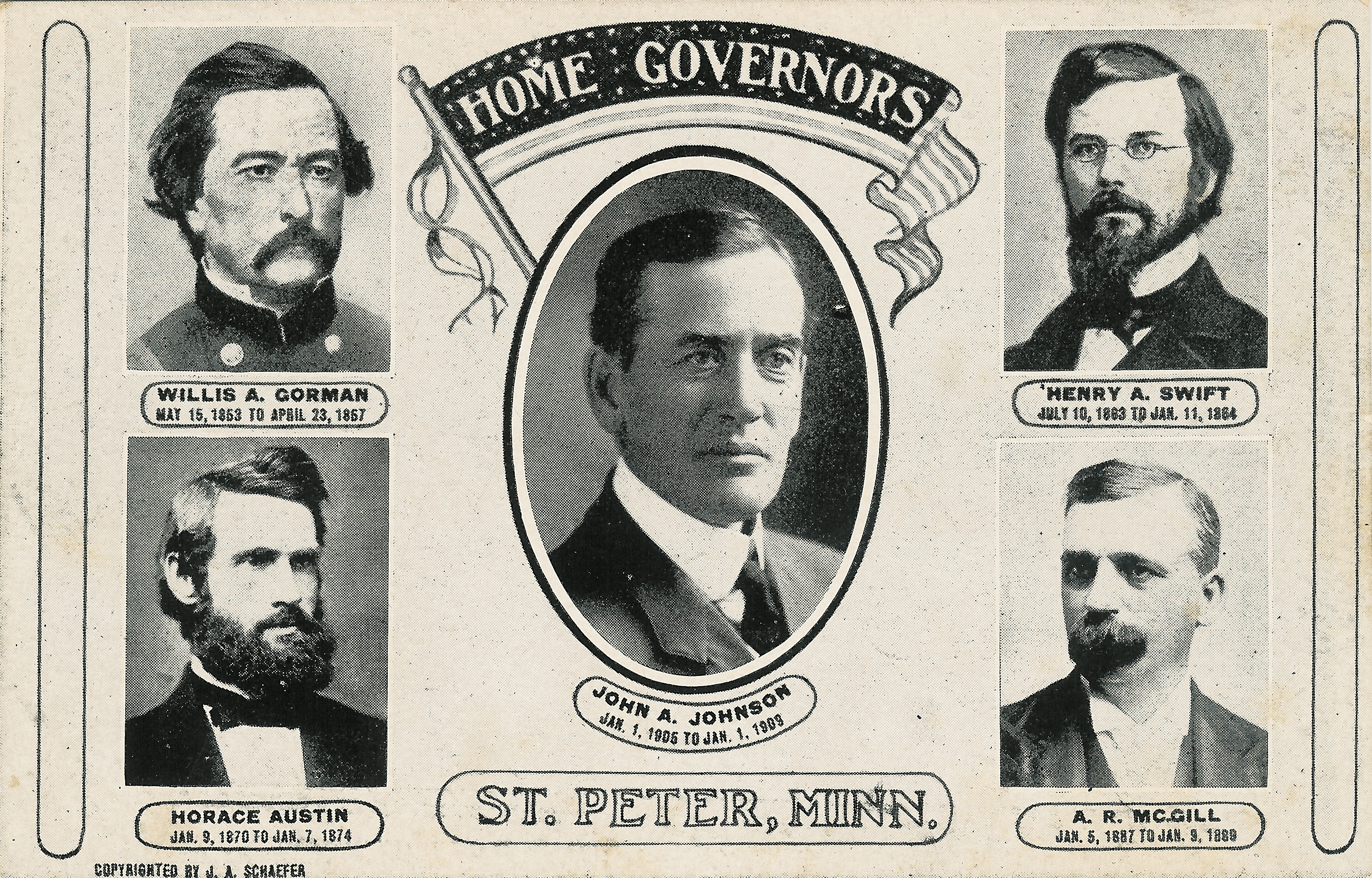 Five Governors from St. Peter, MN post card