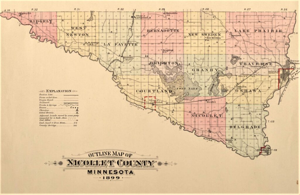 1899 plat map of Nicollet County