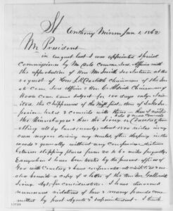 George E.H. Day to Abraham Lincoln, Wednesday, January 01, 1862 (Report on Indian affairs in Minnesota) [partial transcription]