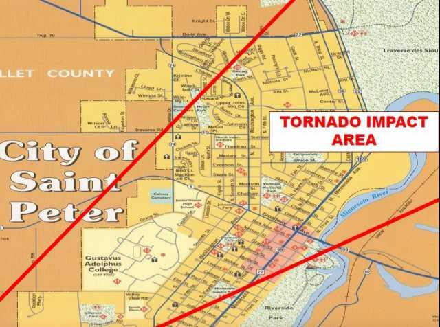 St Peter Tornado Map