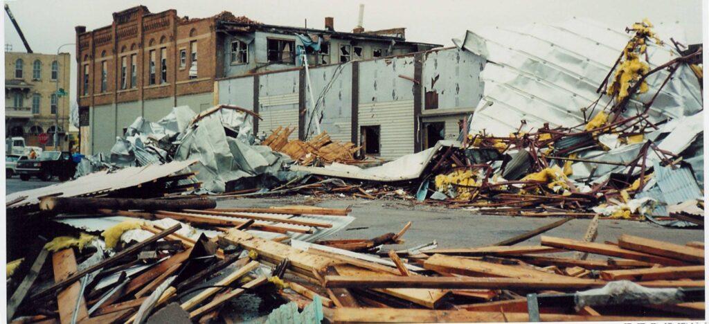 Downtown debris