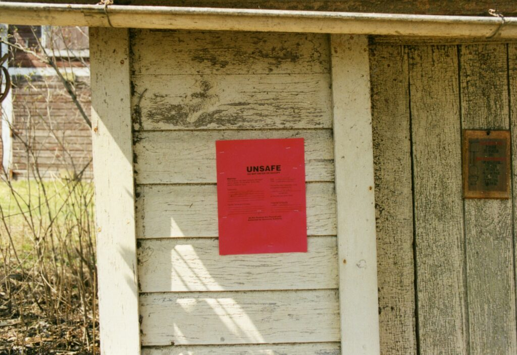 Condemned outhouse