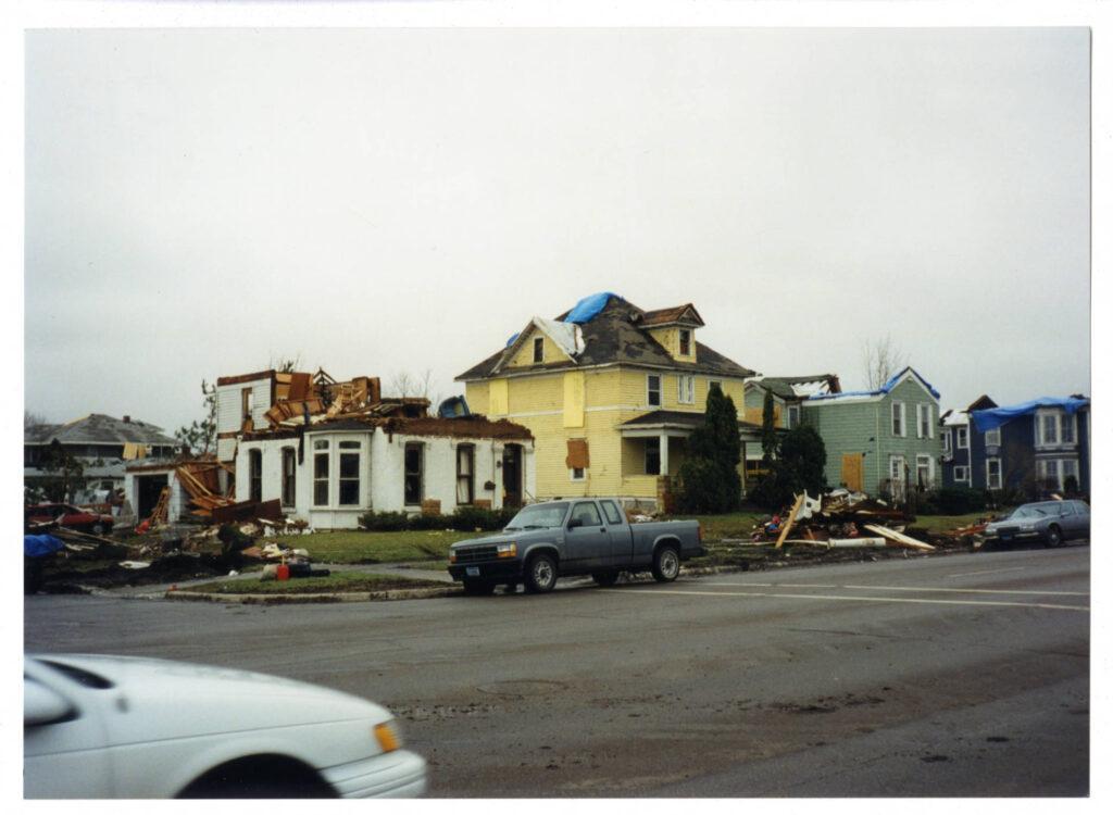 Homes showing tornado damage