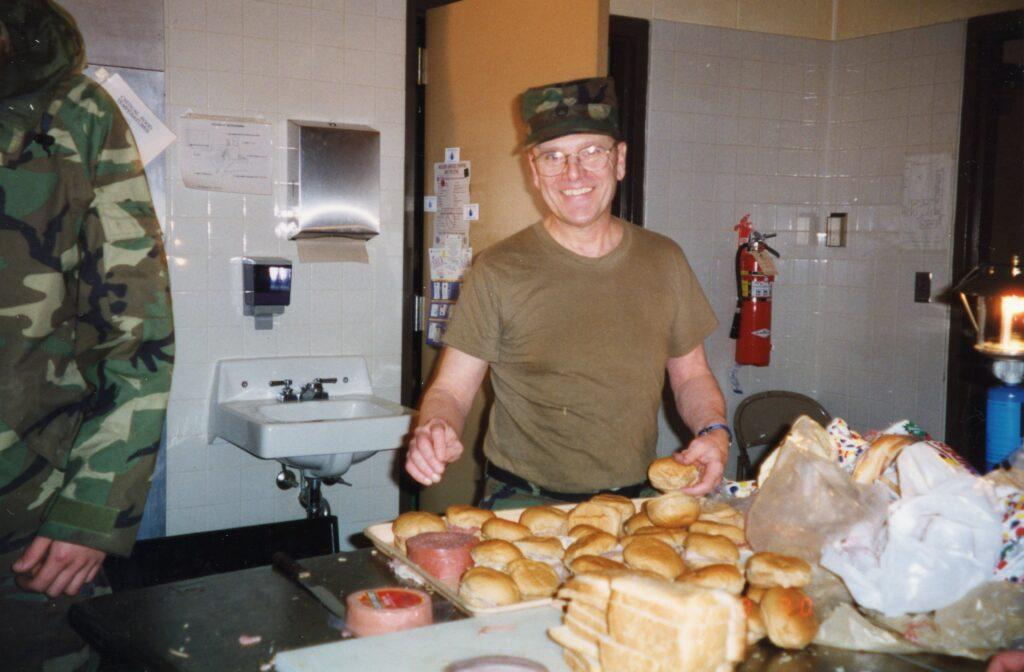 National guardsman eating between shifts.